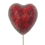 HEART SUGAR ROSES RED/BLACK IN 20 IN STICK