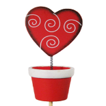 WOODEN WIGGLE HEART CLIP IN POT RED