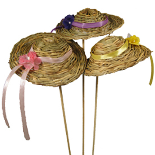 STRAW HAT ON STICK (LILAC, PINK, YELLOW RIBBONS ASSORTED)