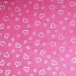 SHEET ORGANZA HEARTS 24X24 IN PINK/SILVER