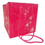 CARRYBAG BLOOMING LOVE 6.25X6.25X6.25 IN PINK