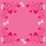 CRYSTAL HEARTS 24X24 IN NO HOLE PINK
