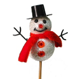 XMAS SNOWMAN 3.5 IN ON 20 IN STICK SPARKLE