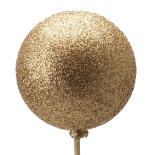 XMAS BALL GLITTER GOLD ON 20 IN STICK