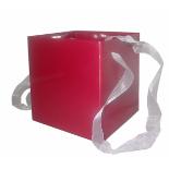 EUROPEAN CUBE 6.25X6.25 IN +HANDLE METALLIC RED