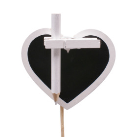 Chalkboard Heart 8.5cm on 50cm stick white