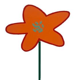 Flower Party 8x9cm on 50cm stick orange