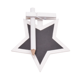 Chalkboard Star with clip 8.5cm white