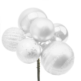 Christmas Balls Assorted x6 on 50cm stick white