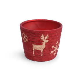 Ceramic Pot Caribou  ES10.5 red