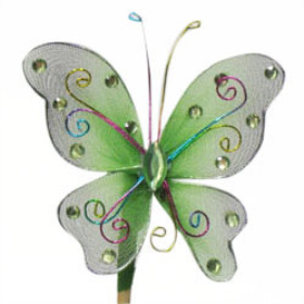 Butterfly Oriënt 7cm on 15cm stick green