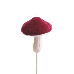 Paddestoel Velvet Mushroom 7cm op 10cm stok bordeaux