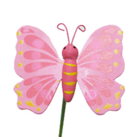 Butterfly Mariposa 2.5 in on 20 in stick pink