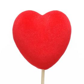 Velvet Heart 8cm on 50cm stick red