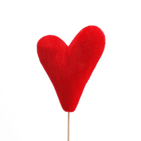 Heart Flocked Love 10x14cm on 50cm stick red