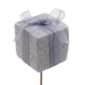 Glitter Present 5cm on 50cm stick silver