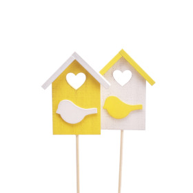 Bird house Happy Home 7.5cm on 50cm stick yellow/white ass.