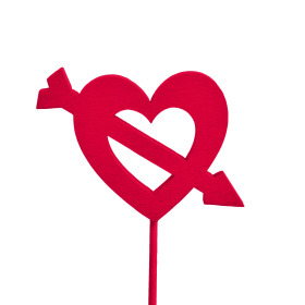 Heart Cupid 5.5cm on 10cm stick red