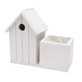 Wooden bird house 21x10 H9.5cm white