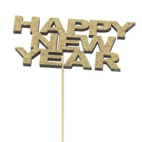 Happy New Year 12x6cm op 50cm stok FSC Mix goud