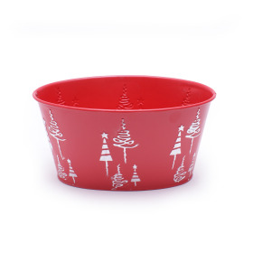 Zinc Oval X-Mas Tree 19x13.5xH10cm red
