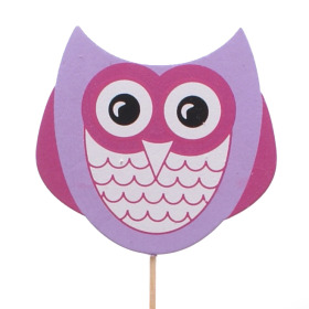 Wooden Owl 7x8cm on 50cm pick pink/lilac