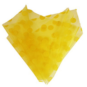 ORGANZA DOTS 20X28 IN WITH 3IN HOLE YELLOW