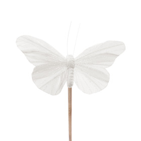 Butterfly Rosy 10.5cm on 50cm stick white
