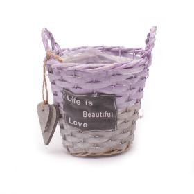 Pot/basket Beautiful Life 16.5cm purple/grey