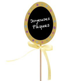 Egg Joyeuses Pâques 6cm on 50cm stick yellow