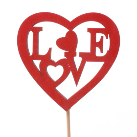 Wooden Heart Love 8cm on 50cm stick red