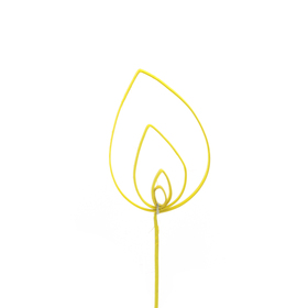 Cane Curly 13x9cm op 50cm stok geel