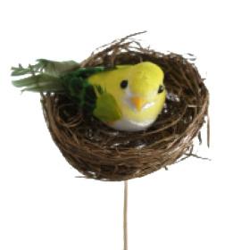 Bird in nest 6cm on 50cm stick green
