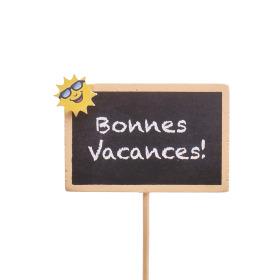 Bonnes Vacances 7.5x5cm on 50cm stick yellow