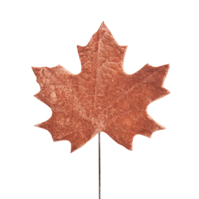 Velvet Herfstblad 13cm op 10cm stok bruin