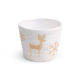 Ceramic Pot Caribou  ES10.5 white