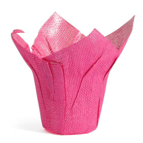Woven Pot Cover 6.5 in hot pink
