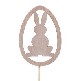 Egg Rabbit 5cm on 10cm stick natural