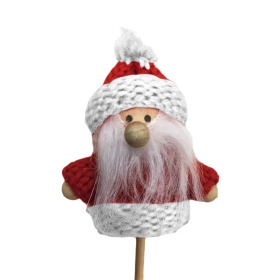 Santa Claus 6.5cm on 10cm stick red/white