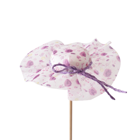 Hat Floral 8cm on 50cm stick lilac