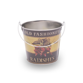 Bucket zinc Old Fashioned Radishes Ø12.8cm H:11.5cm