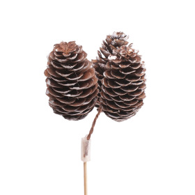 Spruce cones x3 on 20 in stick natural with white tips