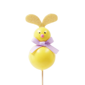 Funny Rabbit 8x4cm on 50cm stick yellow