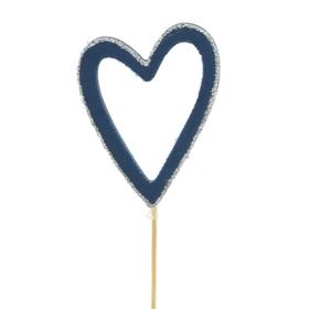 Heart Belle 8cm on 10cm stick FSC Mix dark blue