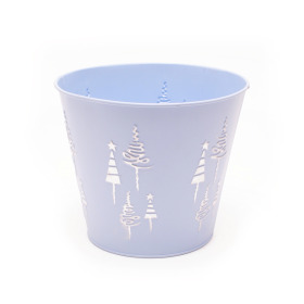 Zinc Pot x-Mas Tree Ø6 H5in Ice blue