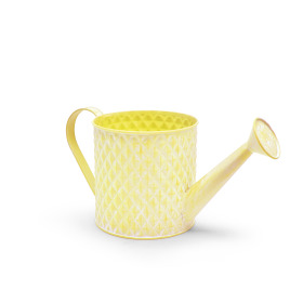 Zinc Watering can Diamond ES12 washed yellow