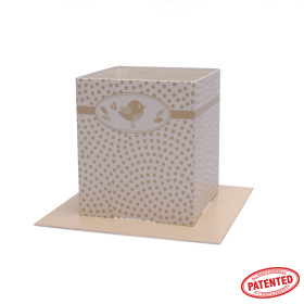 Card Pot Dotty Bird 8.5x8.5x10cm cream
