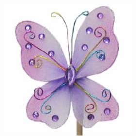 Butterfly Oriënt 7cm on 50cm stick lilac