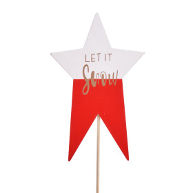 Star Let it Snow 7x11cm on 50cm stick red