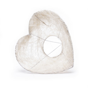 Bouquet holder Sisal Heart 20cm white